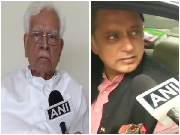 Former union minister Natwar Singh (L) and Shashi Tharoor (R)