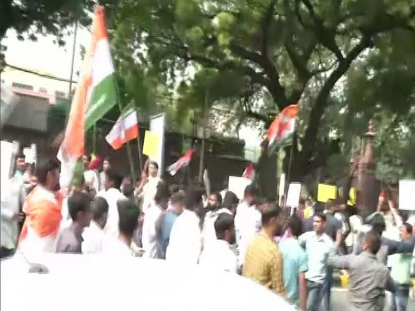 Youth Congress staged a protest in Delhi on Friday [Photo/ANI]