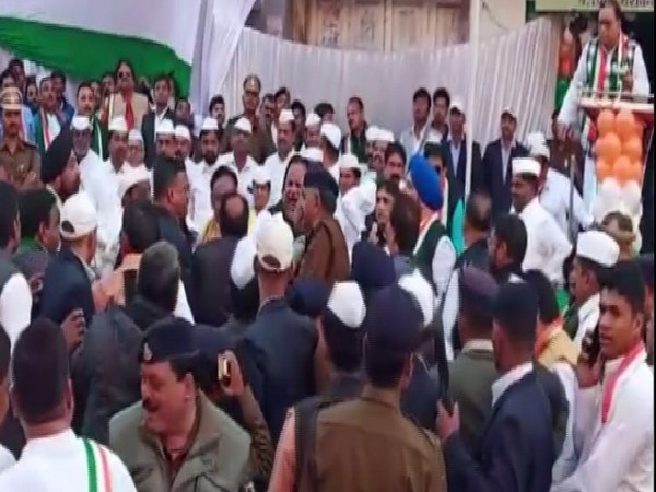 Congress leaders entered into fight during flag hoisting ceremony at party office in Indore on Sunday. (Photo/ANI)