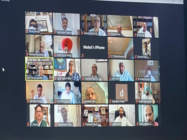 Visual of virtual meeting chaired by Congress party interim president, Sonia Gandhi (Photo/ANI)
