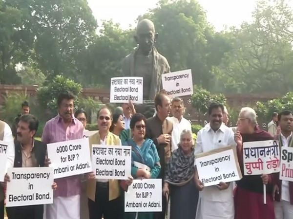 Congress MPs during protest against electoral bonds in Parliament on Friday. (Photo/ANI)