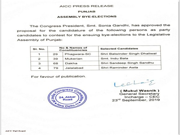 Congress party declared the names of four candidates for the upcoming assembly bye-elections in Punjab.(File Photo/ANI)