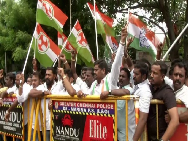 Congress workers protest in Chennai against P Chidambaram's arrest on Thursday. Photo/ANI