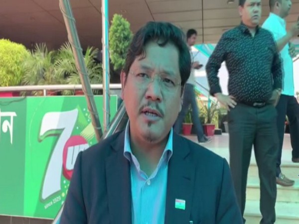 Meghalaya Chief Minister Conrad Sangma addressing the media after the business meeting in Dhaka