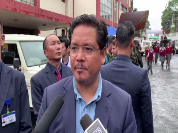 Meghalaya Chief Minister Conrad k Sangma speaking to media persons on Wednesday in Shillong. Photo/ANI