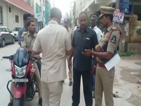 Hyderabad police while conducting cordon-search-operations in city on Tuesday. (Photo/ANI)