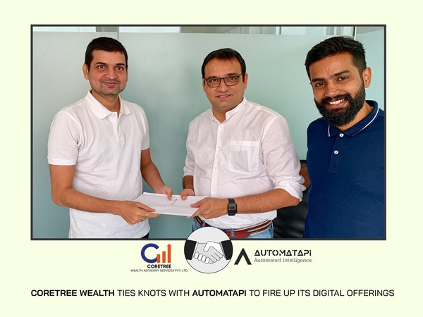 Brijesh Parnami, CEO of Coretree Wealth signs the strategic partnership with Devesh Rao, CEO of AutomataPi