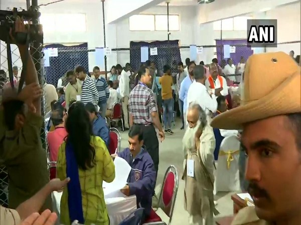 Visual from a counting centre in Bengaluru on Monday. Photo/ANI