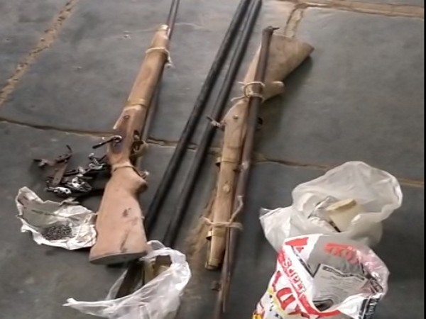 Two country-made guns, two barrels and three brass bearings were also recovered from their possession. Photo/ANI