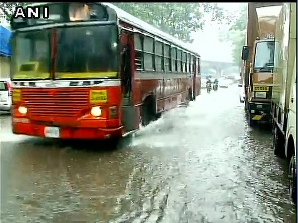 Water logging in parts of Mumbai due to heavy rains. [Photo/ANI]