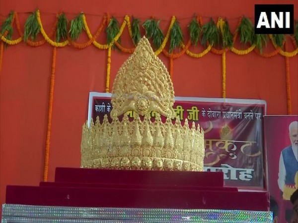 The crown offered to Lord Hanuman in Varanasi o day before PM Modi's birthday on Monday. (Photo/ANI)