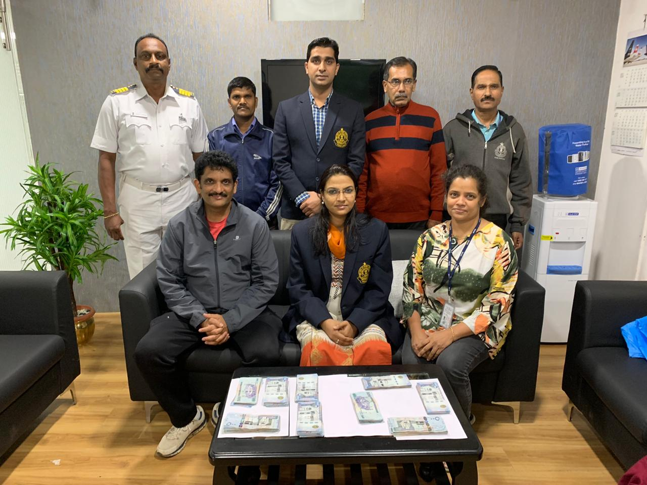 Customs officials team who carried out the operation to nab two foreign currency smugglers. (Photo/ANI)