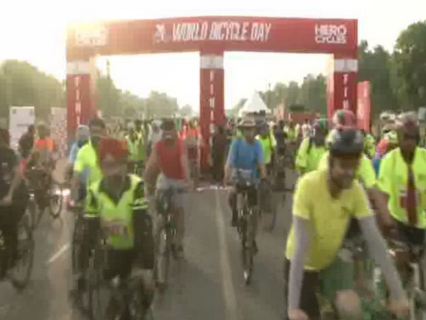 Cycle rally at India Gate on Sunday.