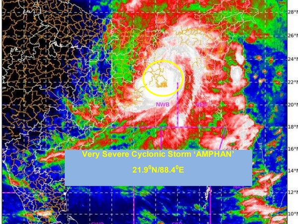 The current intensity of storm near the centre is 140-150 Kmph gusting to 165 Kmph. (Photo credit: IMD)