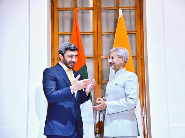 UAE Foreign Minister Sheikh Abdullah bin Zayed Al with External Affairs Minister S Jaishankar in New Delhi on Monday. (Picture credits: Raveesh Kumar/Twitter)