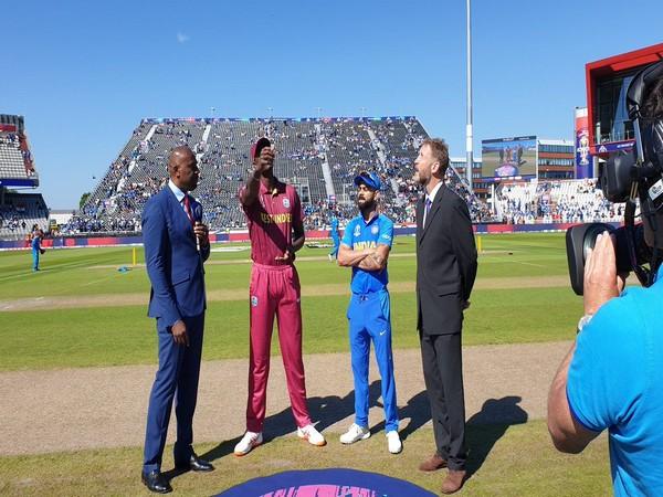 India skipper Virat Kohli and West Indies skipper Jason Holder during toss at Old Trafford