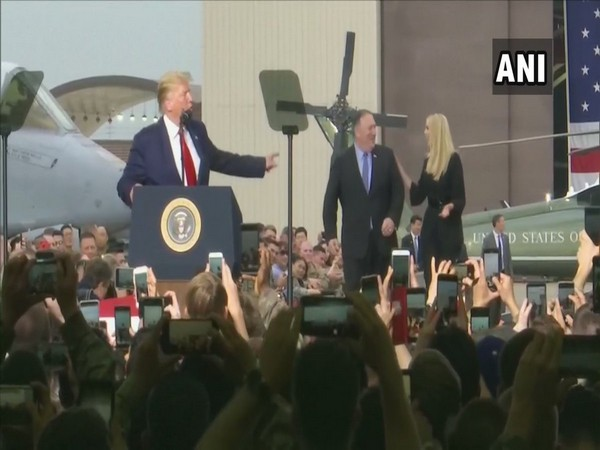 US President Donald Trump with Secretary of State Mike Pompeo and daughter Ivanka Trump at Osan Air Base in Japan on Sunday