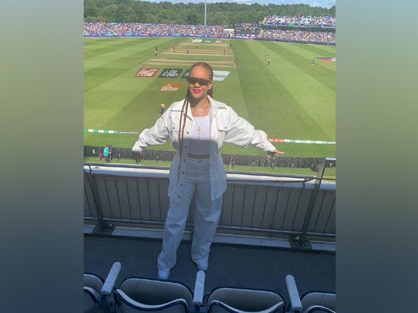 Singer Rihanna watching the match between West Indies and Sri Lanka (Photo/ Windies Cricket Twitter)
