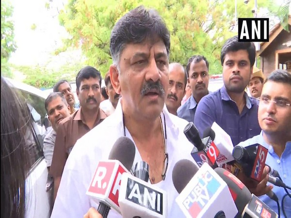 Irrigation Minister DK Shivakumar in conversation with media personnel in Bengaluru on Saturday. Photo/ANI