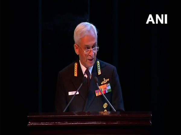 Naval Chief Sunil Lanba while speaking about menace of terrorism at at the Indo-Pacific Regional Dialogue 2019 in New Delhi on Tuesday. [Photo/ANI]