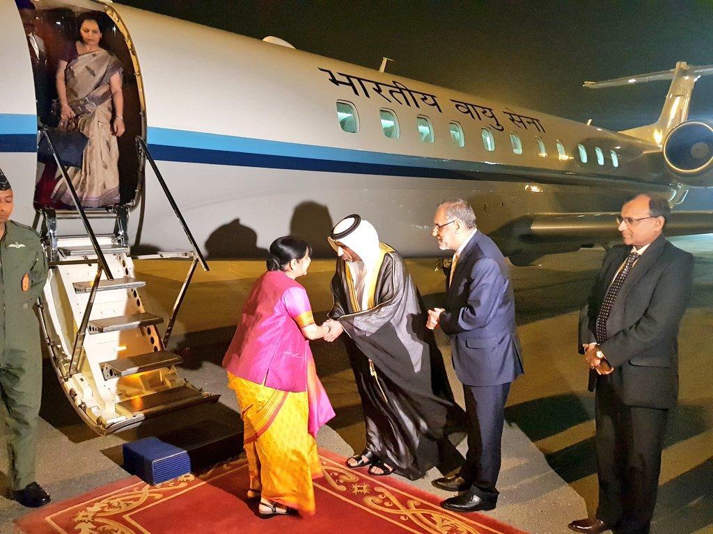 xternal Affairs Minister Sushma Swaraj reached Abu Dhabi  on Friday