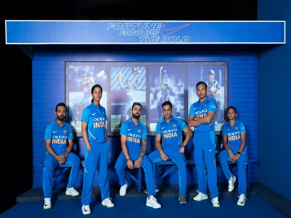 Indian players from both Men's and Women's team during launch of new jersey at Hyderabad (Courtesy- BCCI Twitter)