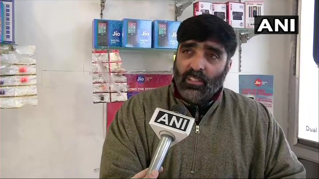 Bashir Ahmed, General Secretary, Traders Association of Kashmir talking to ANI in Srinagar on Sunday. (Photo/ANI)