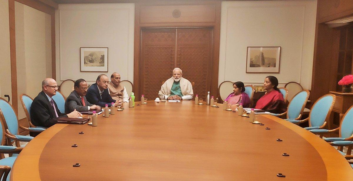 Prime Minister Narendra Modi chairing the National Security Council meeting in New Delhi on Sunday. Photo courtesy: PIB