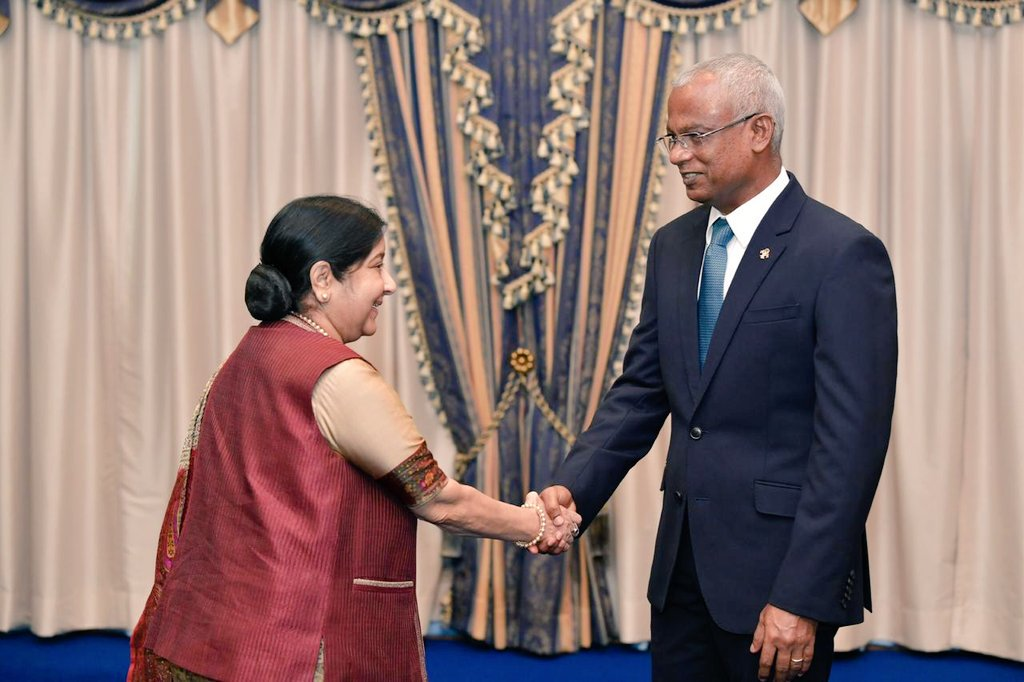 India's External Affairs Minister Sushma Swaraj with Maldives President Ibrahim Mohamed Solih in Male city on Monday. (Picture courtesy: MEA)