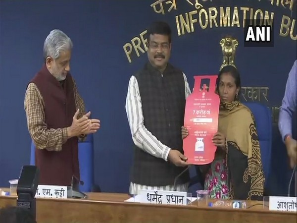 Union Minister of Petroleum and Natural Gas Dharmendra Pradhan while distributing the LPG connection on Friday