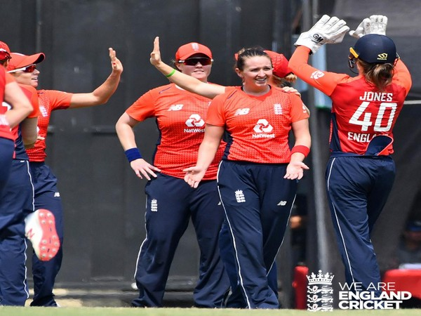 England Women's team celebrating their victory at guwahati (Courtesy- England Cricket Twitter)