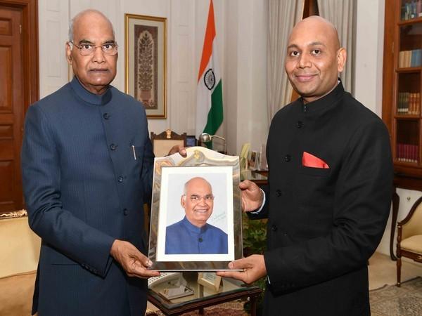 Ambassador of India to the Republic of Madagascar Abhay Kumar with President Ram Nath Kovind on Monday (Picture Credits-Twitter/Rashtrapati Bhavan)