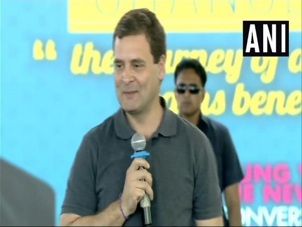 Congress president Rahul Gandhi addressed students of Chennai's Stella Maris College on Wednesday. [File Photo/ANI]