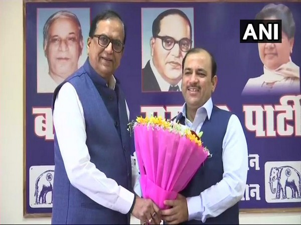 BSP All India General Secretary Satish Mishra (L) with Danish Ali in Lucknow on Saturday [Photo/ANI]