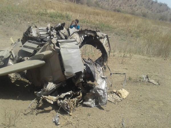 Debris from the crashed Mig-27 UPG on Sunday. Photo/ANI