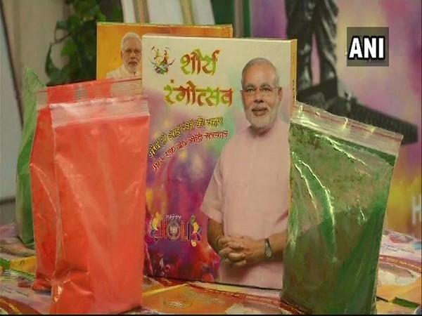 Gulaal being sold in Jaipur in packets labelled 'Shaurya Rangotsav'