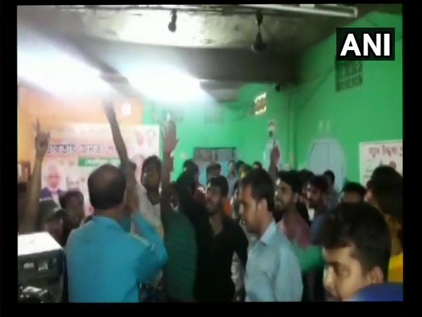 A group of BJP workers in Cooch Behar protested at the party office on Thursday. [Photo/ANI]