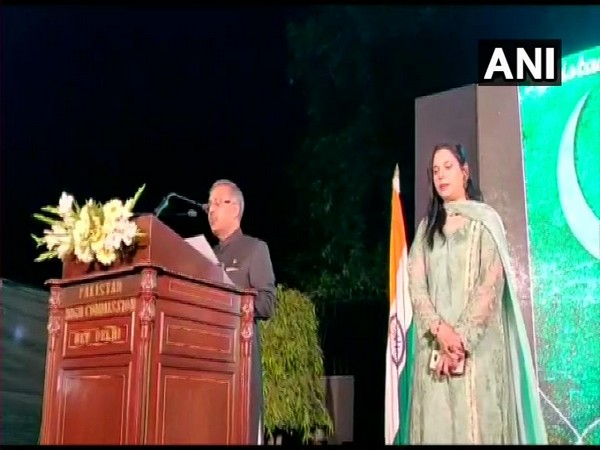 Pakistan High Commissioner to India Sohail Mahmood delivering a speech at Pakistan High Commission in Delhi on Friday during the celebration of Pakistan National Day (Photo/ANI)
