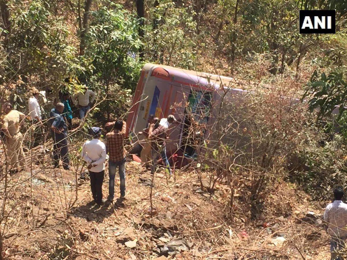 Visuals of the bus after the accident. Photo/ANI