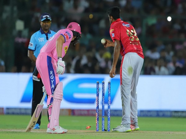 """Mankad' run out of Jos Buttler by Ravi Ashwin. (Courtesy- IPL Twitter)"