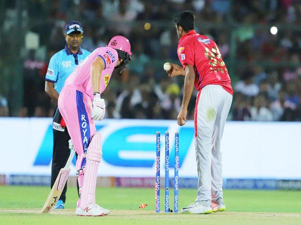 Mankad run out of Jos Buttler by Ravi Ashwin (Courtesy IPL Twitter)