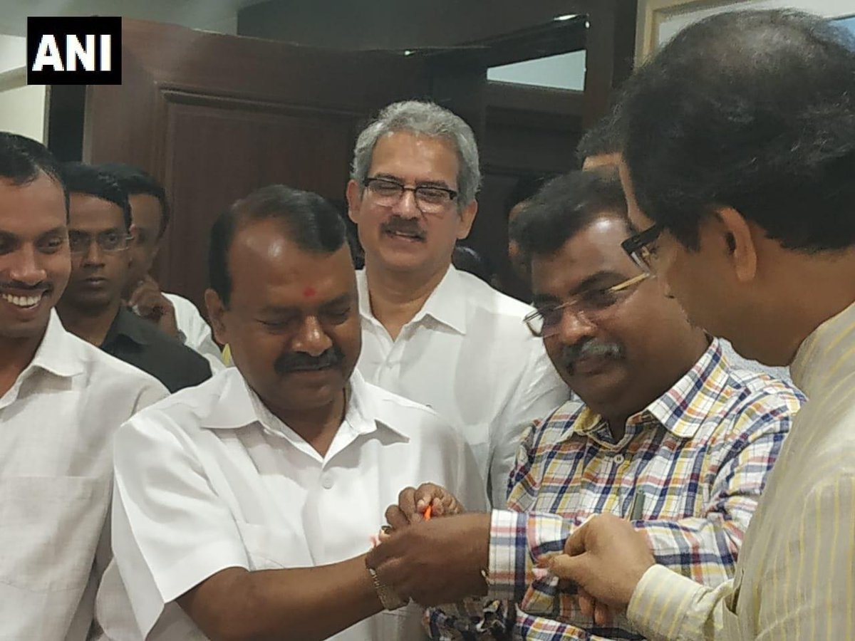 Rajendra Gavit (with the tilak on forehead), BJP's sitting MP from Palghar Lok Sabha seat, joined Shiv Sena on Tuesday. Photo/ANI