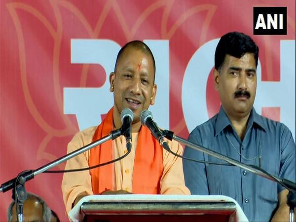 Uttar Pradesh CM Yogi Adityanath addresses public in Ahmedabad on Wednesday. [Photo/ANI]