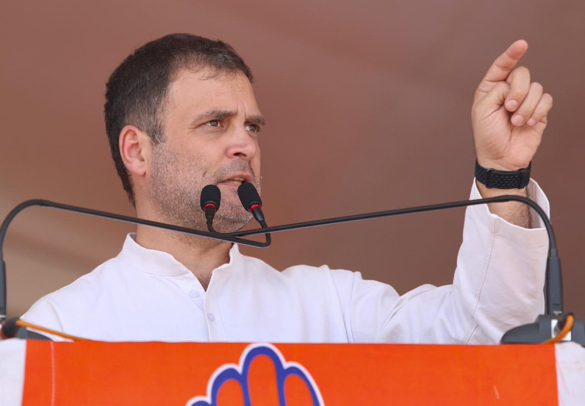 Congress president Rahul Gandhi addressing a public rally at Nalgonda on Monday (Source: AICC)