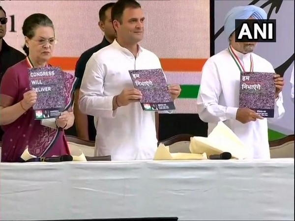 Senior Congress leaders at the release of party's manifesto on Tuesday in New Delhi. Photo/ANI