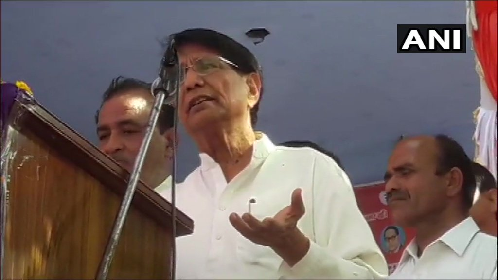 Chaudhary Ajit Singh addressing a gathering in Bagpath on Wednesday