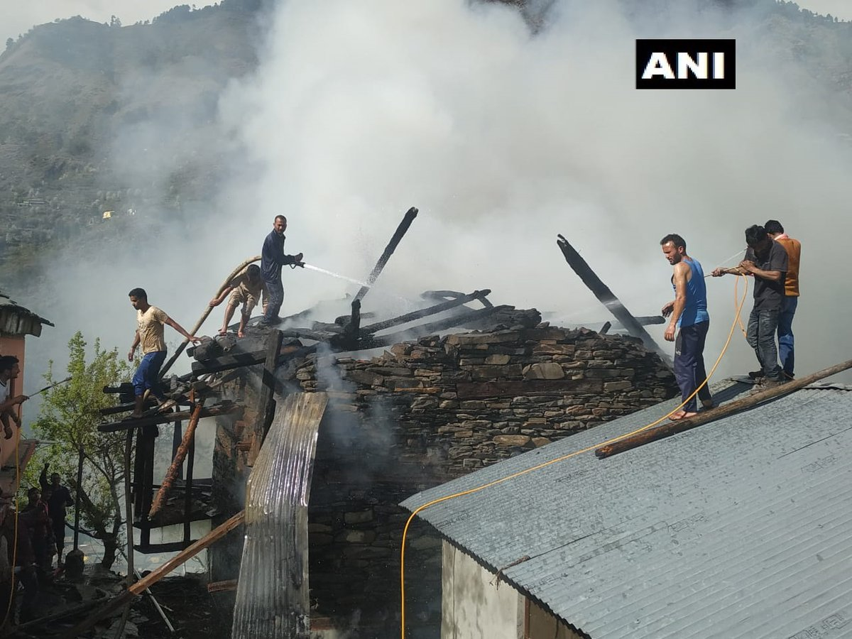 A fire broke out in a house in Himachal Pradesh's Kullu district on Saturday.