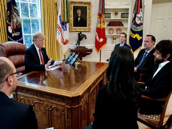 Trump during a meeting with Twitter CEO Jack Dorsey