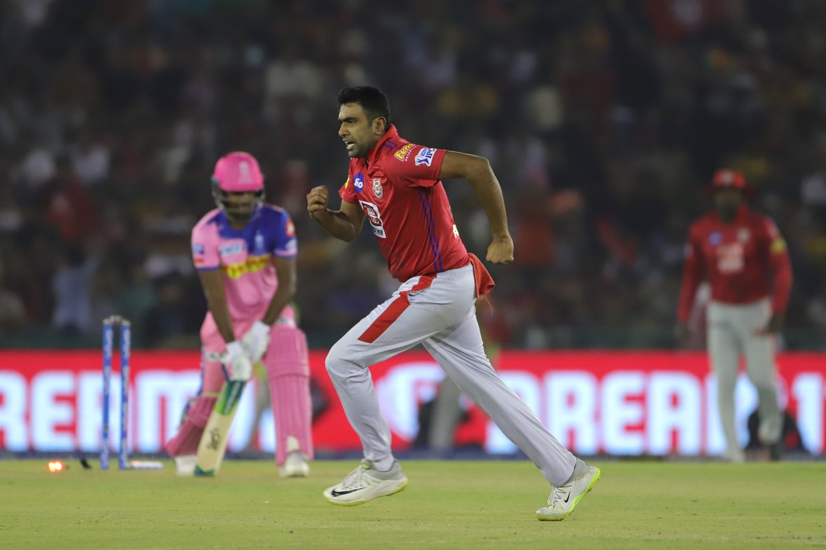 Ravi Ashwin celebrates after dismissing Sanju Samson (Photo/ Kings XI Punjab Twitter)