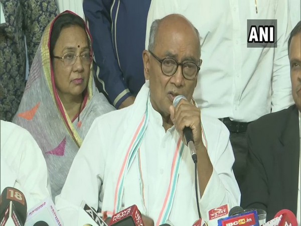 Congress leader Digvijaya Singh addressing a press conference in Bhopal, Madhya Pradesh on Saturday. Photo/ANI